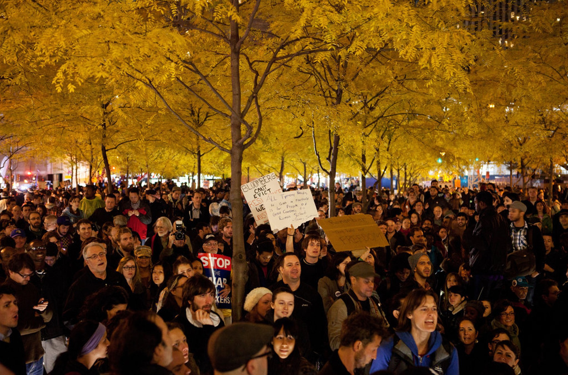 Protesters assembled under the canopy of honey locust trees in Zuccotti Park